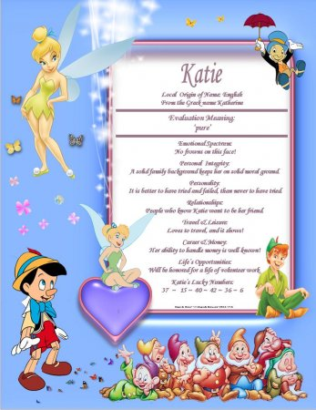 Disney Characters Personalized Name Meaning Print 1 DBC NS
